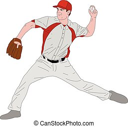 baseball pitcher detailed illustration