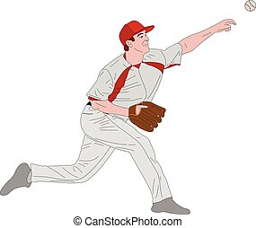 baseball pitcher, detailed illustration