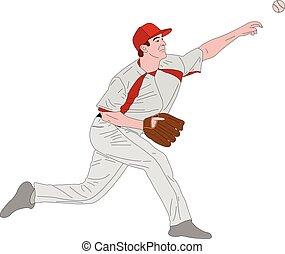 baseball pitcher, detailed illustration