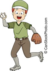 Baseball Pitcher - Illustration Featuring a Young Baseball...
