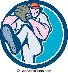 Baseball Pitcher Outfielder Leg Up Circle Cartoon