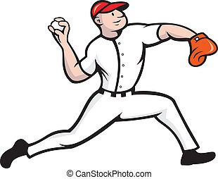 Baseball Pitcher Player Throwing - Cartoon illustration of a...