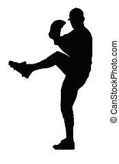 Baseball Pitcher Balancing on One Leg Before Pitch