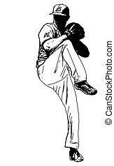 baseball pitcher, sketch illustration - vector