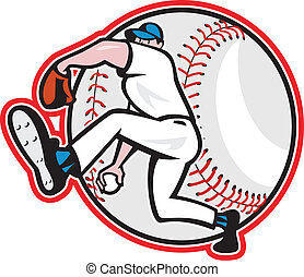 Baseball Pitcher Throw Ball Cartoon
