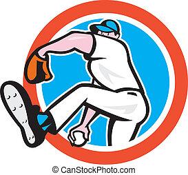 Baseball Pitcher Throwing Ball Circle Cartoon