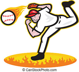 Baseball Pitcher Throwing Ball On Fire - Illustration of a...