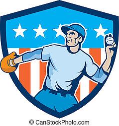 Baseball Pitcher Throwing Ball Shield Cartoon