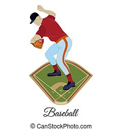 Baseball pitcher throwing ball vector flat illustration