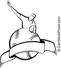 Baseball Pitcher with Ball & Banner - Black and white vector...