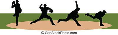 Baseball Pitchers - Four poses of baseball pitchers pitching