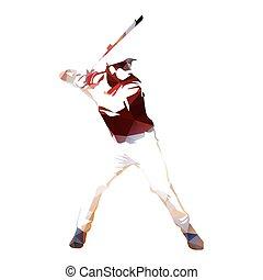 Baseball player abstract geometric vector silhouette