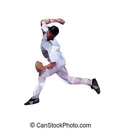 Baseball player, abstract polygonal vector silhouette