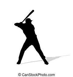 Baseball player, abstract vector silhouette. Team sport