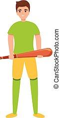Baseball player bat icon, cartoon style
