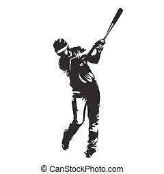 Baseball player batter, abstract vector silhouette, front view