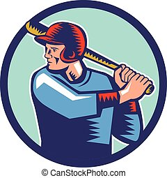 Illustration of an american baseball player batter hitter holding bat batting viewed from the side set inside circle on isolated background done in retro woodcut style.