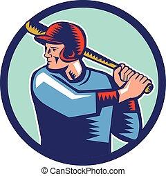 Baseball Player Batter Batting Circle Woodcut - Illustration...