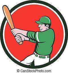 Baseball Player Batter Swinging Bat Circle Cartoon