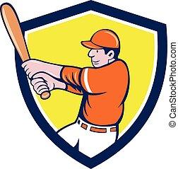 Baseball Player Batter Swinging Bat Crest Cartoon