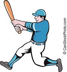 Baseball Player Batter Swinging Bat Isolated Cartoon