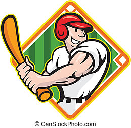 Baseball Player Batting Cartoon - Cartoon illustration of a...