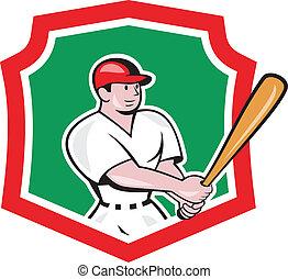 Baseball Player Batting Crest Cartoon