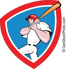 Baseball Player Batting Crest Red Cartoon