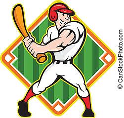 Baseball Player Batting Diamond Cartoon - Cartoon...