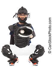 Baseball Player, Catcher, catched a baseball