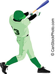 Baseball player. Colored Vector