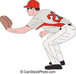 baseball player, detailed illustration
