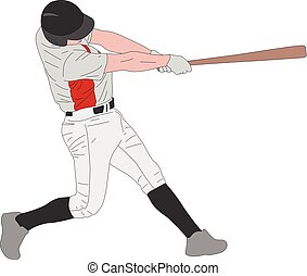 baseball player, detailed illustration