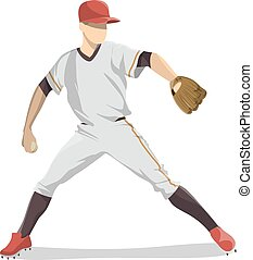baseball, player., freigestellt