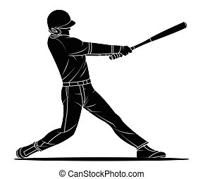 Baseball player hitter. Vector illustration.