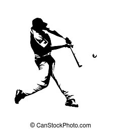 Baseball player hitting ball, batter,  isolated vector silhouette