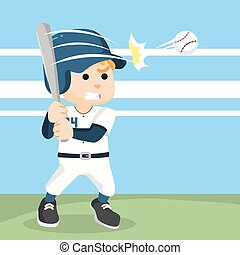 baseball player hitting ball