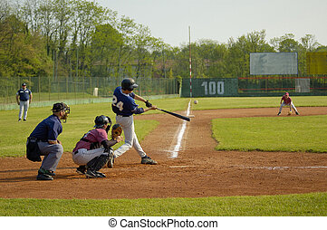 Player hitting ball