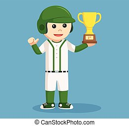 baseball player holding a trophy