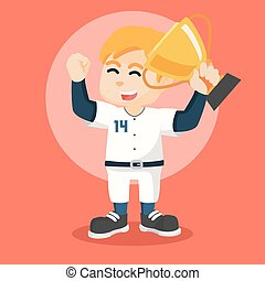 baseball player holding trophy
