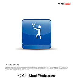 Baseball Player Icon - 3d Blue Button