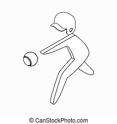 Baseball player icon, isometric 3d style