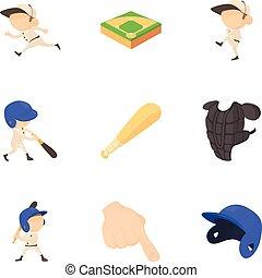 Baseball player icons set, cartoon style