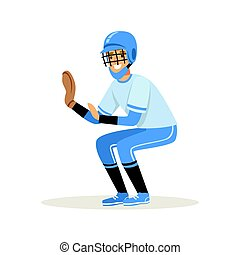 Baseball player in a blue uniform trying to catch ball vector Illustration