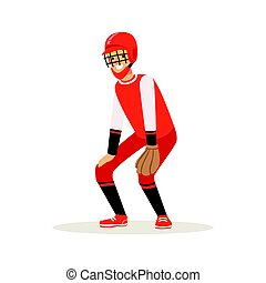 Baseball player in a red uniform trying to catch ball vector Illustration