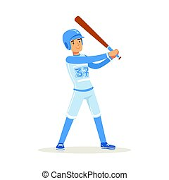 Baseball player in blue uniform getting ready to hit the ball vector Illustration