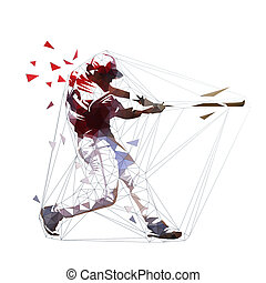Baseball player in red jersey swinging with bat, isolated polygonal vector illustration