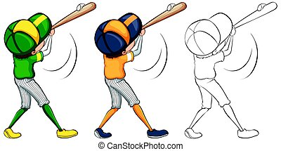Baseball player in three different drawing styles