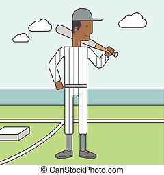Baseball player man. - An african-american baseball player...