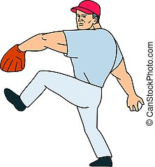 Baseball Player Pitcher Ready to Throw Ball Cartoon